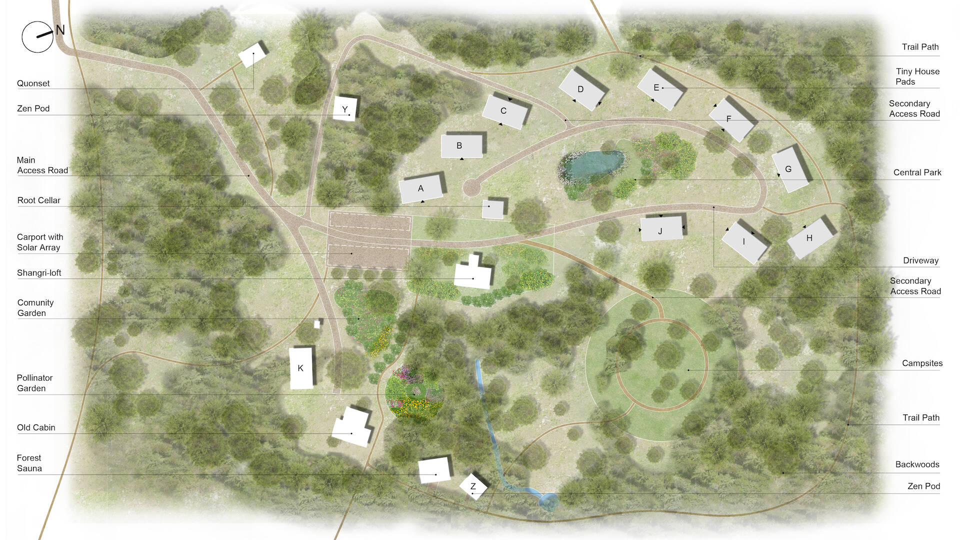 illustrated site plan map of Big Calm Tiny Homesteads