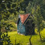 A blue tiny house sits in a peaceful verdant meadow